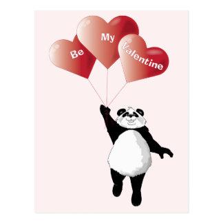 Panda with Heart Balloons Valentine Postcard