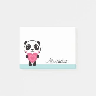 Panda with heart personalised name post it notes