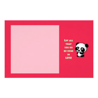 Panda with Inspirational Love Quote Stationery Design