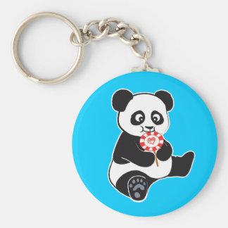 Panda with lollipop basic round button key ring