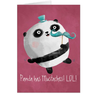 Panda with Mustaches Greeting Card