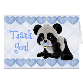 Panda with Pacifier Blue Hearts Thank You Card