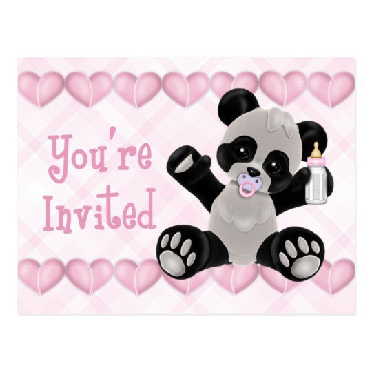 Panda with Pacifier Pink Baby Shower Invitation Postcard