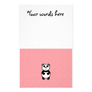 Panda with pink paw background stationery