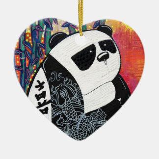 Panda Zen Master Ceramic Heart Decoration