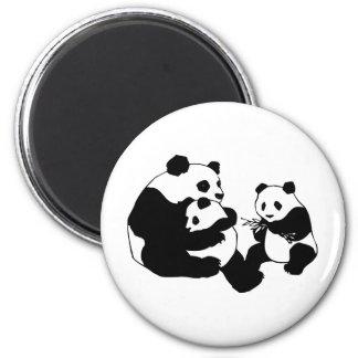 Pandas 6 Cm Round Magnet