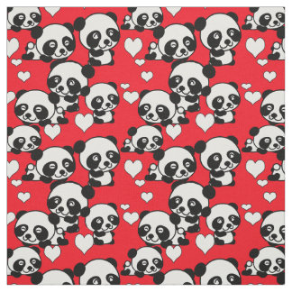 Pandas and Hearts Valentine Fabric