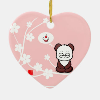 Panda's Attachment Ceramic Heart Decoration