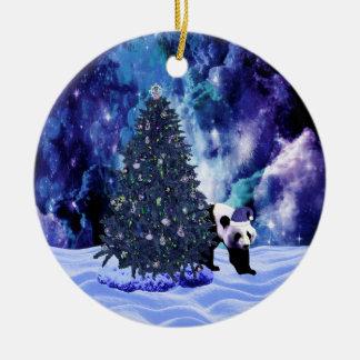 Panda's Christmas Holiday at the North Pole Christmas Ornament