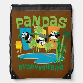 Pandas Everywhere Drawstring Bag