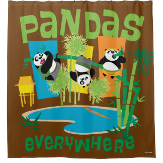 Pandas Everywhere Shower Curtain