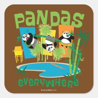 Pandas Everywhere Square Sticker