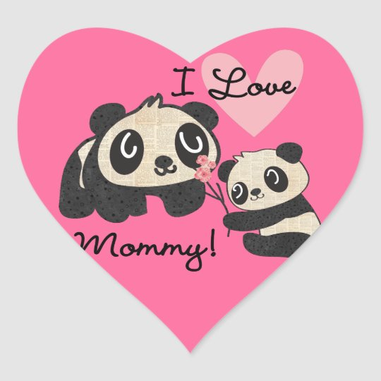 Pandas I Love Mummy Heart Sticker