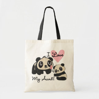 Pandas I Love My Aunt Budget Tote Bag
