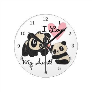 Pandas I Love My Aunt Wallclocks