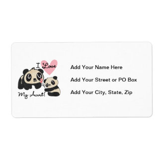 Pandas I Love My Aunt Shipping Label