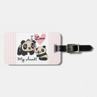 Pandas I Love My Aunt Luggage Tags