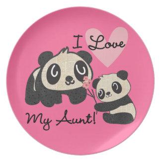 Pandas I Love My Aunt Dinner Plate