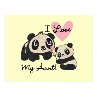 Pandas I Love My Aunt Postcards