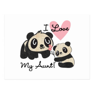 Pandas I Love My Aunt Postcard