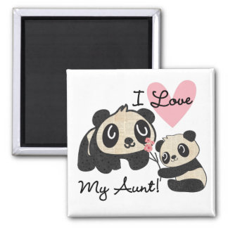 Pandas I Love My Aunt Square Magnet