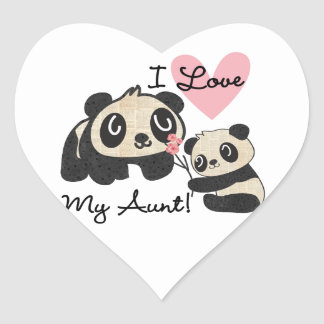 Pandas I Love My Aunt Heart Stickers