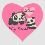Pandas I Love My Nana Heart Sticker