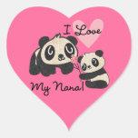 Pandas I Love My Nana Heart Stickers