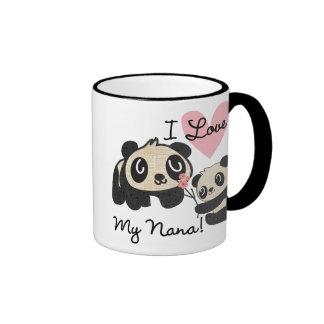 Pandas I Love My Nana Ringer Mug
