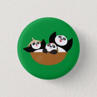 Pandas in a Bowl 3 Cm Round Badge