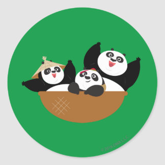 Pandas in a Bowl Classic Round Sticker