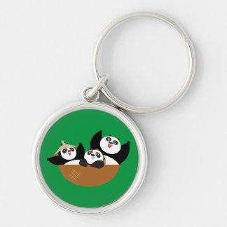 Pandas in a Bowl Key Ring