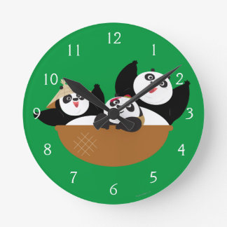 Pandas in a Bowl Round Clock