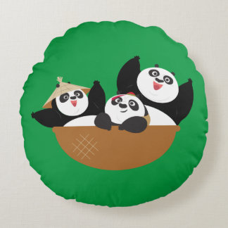Pandas in a Bowl Round Cushion