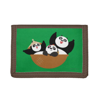 Pandas in a Bowl Tri-fold Wallet