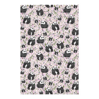 Pandas in Pink Stationery