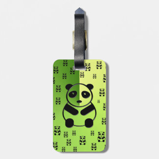 Pandas on forest green background luggage tag