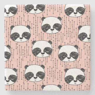 Pandas - Panda - Tiny Pale Pink / Andrea Lauren Stone Coaster