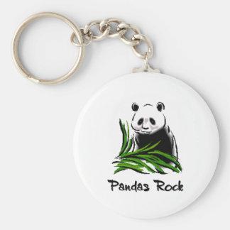 Pandas Rock Basic Round Button Key Ring