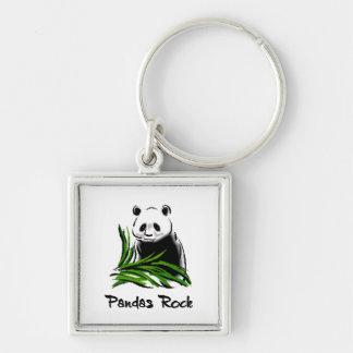 Pandas Rock Silver-Colored Square Key Ring