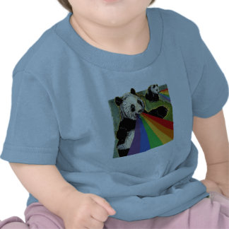 Pandas shooting rainbows from their mouths tees