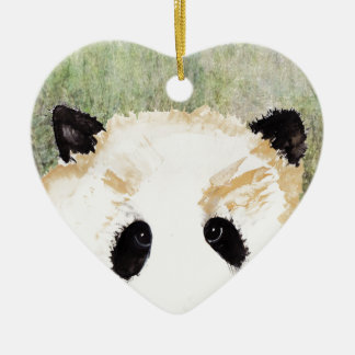 Pandas Watercolour Painting Ceramic Heart Decoration