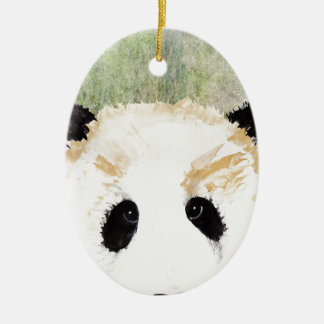 Pandas Watercolour Painting Ceramic Oval Decoration