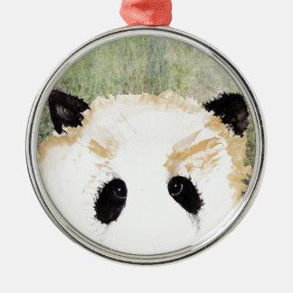 Pandas Watercolour Painting Christmas Ornament