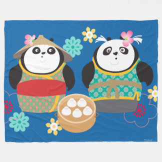 Pandas with Dumplings Fleece Blanket