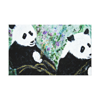 Pandas with Golden Bamboo Canvas Print