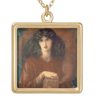 Pandora, 1871 (oil on canvas) square pendant necklace