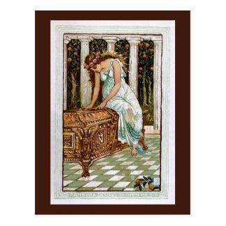 Pandora desires to open the Box Postcard