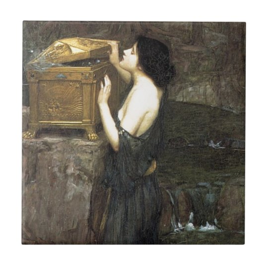 Pandora [John William Waterhouse] Small Square Tile
