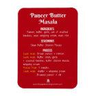 Paneer Butter Masala Recipe Magnet for Instant Pot